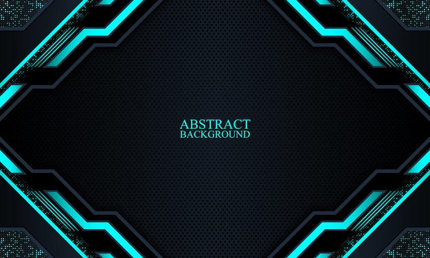 Abstract dark navy technology background with blue neon stripes vector illustration