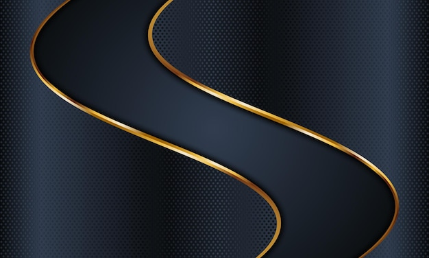 황금 라인 배경 벡터 일러스트와 함께 추상 어두운 해군 물결 모양 텍스처