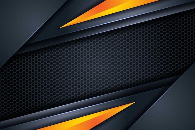 육각형 메쉬 패턴 현대 미래 tehnology 배경으로 추상 어두운 중복 배경 노란색 삼각형 모양