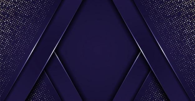 光沢のある青い詳細と抽象的な暗い紙層の背景