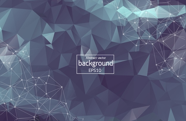 Abstract dark polygonal space background with connecting dots and lines. geometric polygonal background molecule and communication. concept of science, chemistry, biology, medicine, technology.