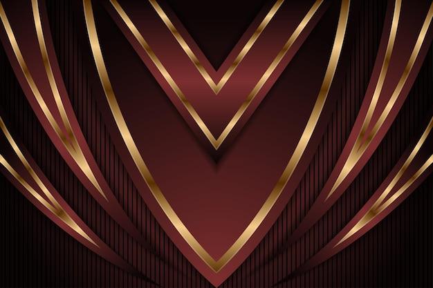 抽象ダークレッドとラグジュアリーゴールドダウンアローメタリック方向ラグジュアリーオーバーラップデザインモダン