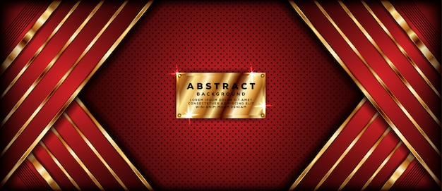 Abstract dark red banner background with golden overlap layers