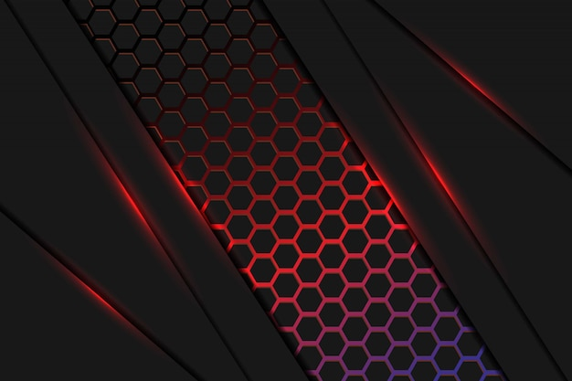 Abstract dark red and blue light overlap layers with hexagon mesh pattern background