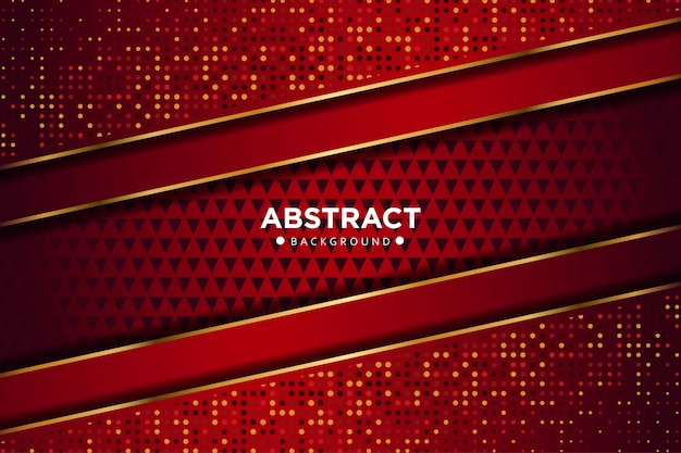 Абстрактная темно-красная золотая линия перекрывающихся геометрических фигур с блестками многоточий современной роскошной футуристической технологии фон