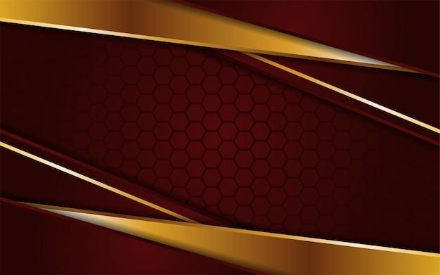 金の線で抽象的な濃い赤の六角形の背景