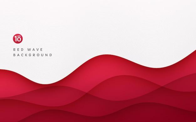 線の波のテクスチャと白い背景の上の抽象的な濃い赤のレイヤー波状の形