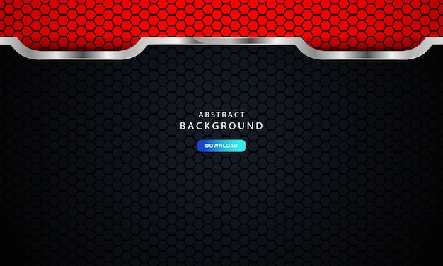 Abstract dark red on metallic lines with hexagon mesh pattern design