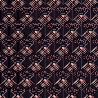 Abstract dark rose gold art deco seamless pattern