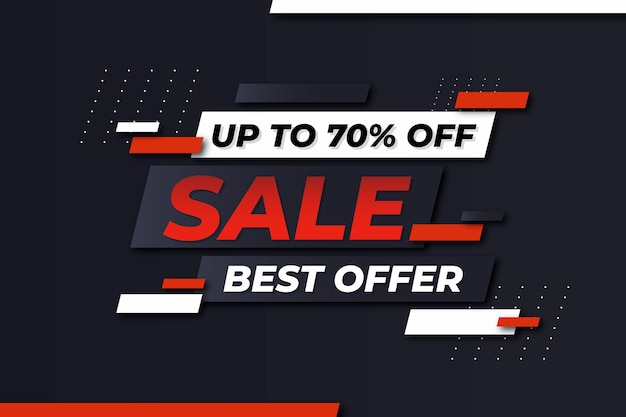 Abstract dark sales background with 70% off