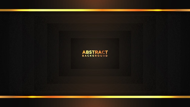 Abstract dark square background with gold lines.