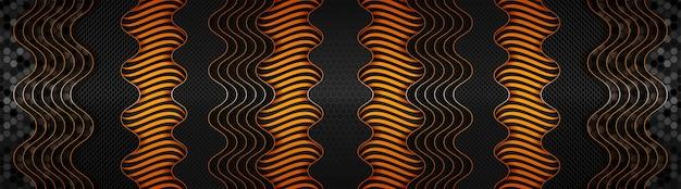グラデーションライトオレンジバナーと抽象的な暗い技術