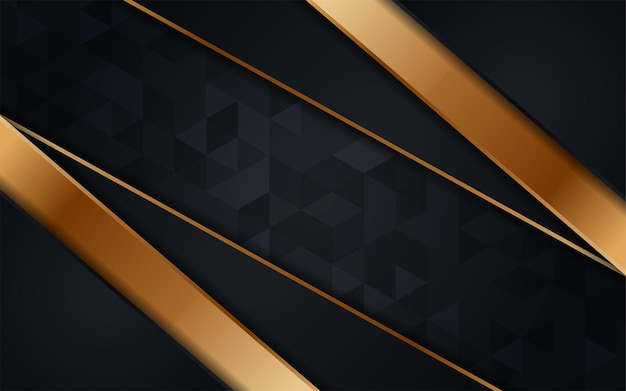 Abstract dark triangle texture background combination with line gold element