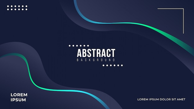 Abstract dark wavy background with gradient line