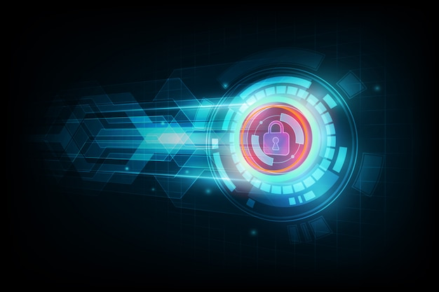 Abstract data security  concept and futuristic electronic technology background, vector illustration