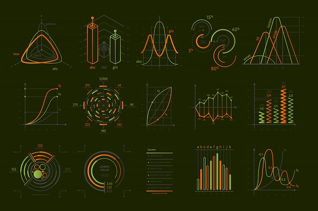 Abstract data visualization set isolated on black