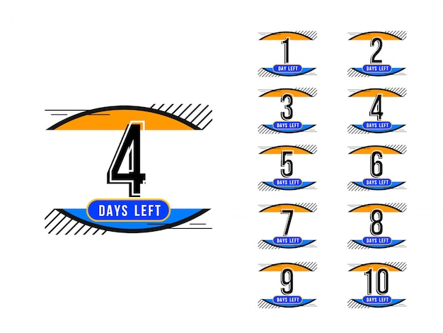 Abstract days left colorful sign design background