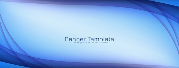 Abstract decorative blue wave banner design