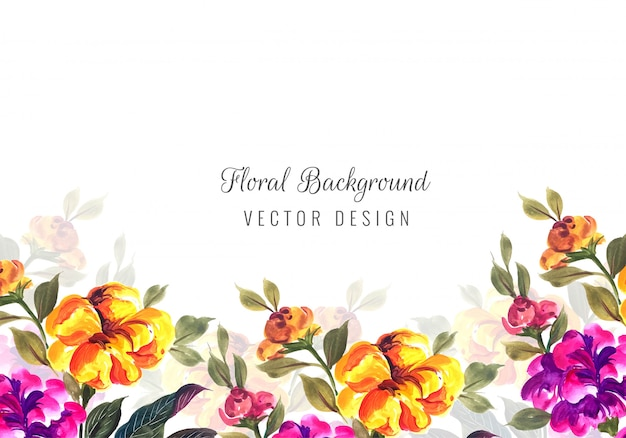 Abstract decorative colorful flowers card template