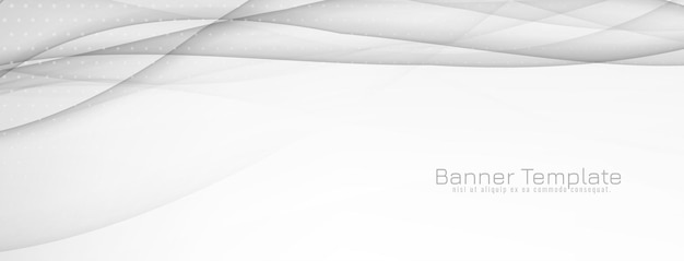 Abstract decorative grey wave banner