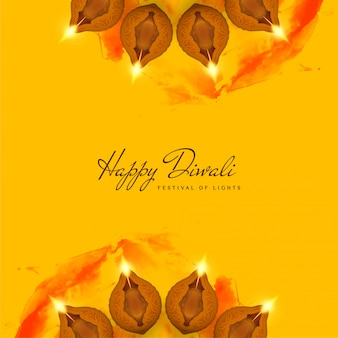 Abstract decorative happy diwali yellow background