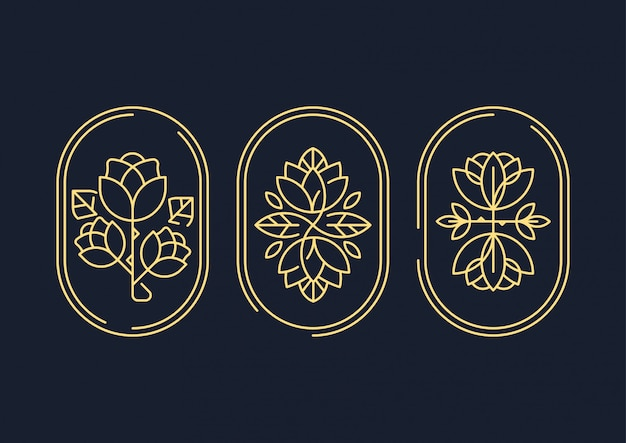 Abstract decorative line art flower symbol