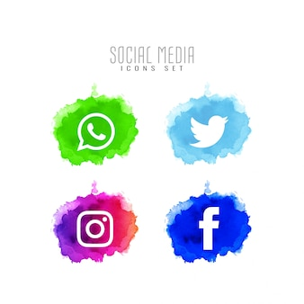 Abstract decorative social media icons design set