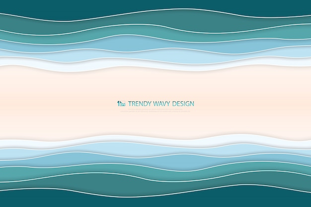 Abstract deep blue and green wavy sea background with sand space.