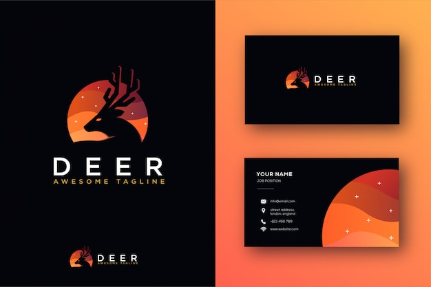 Abstract deer logo and business card