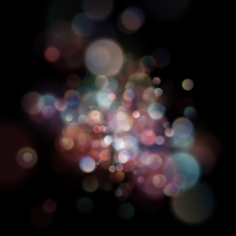 Abstract defocused circular color bokeh on dark background.