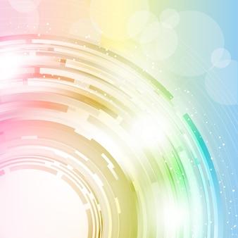 淡いスペクトル色の円の抽象的なデザインの背景