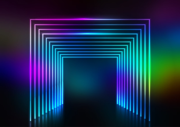 Abstract design background with neon tunnel effect