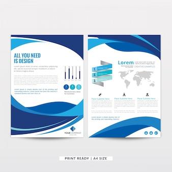 抽象的なデザインの青いパンフレットのテンプレート