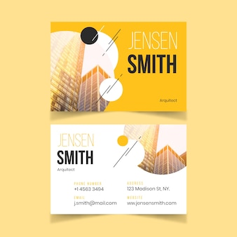 Abstract design business card with photo