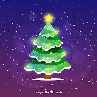 Abstract design christmas tree with star