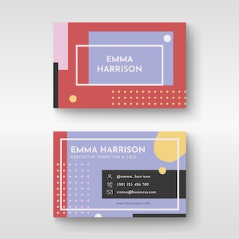 Abstract design colorful business card for ceo