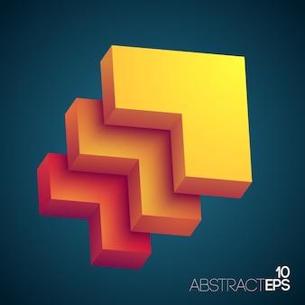 黄色からオレンジ色に着色されたグラデーションの長方形の層を持つ抽象的なデザインコンセプト
