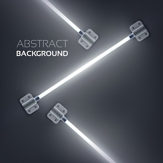 Abstract design concept with neon light tubes attached by metal plates