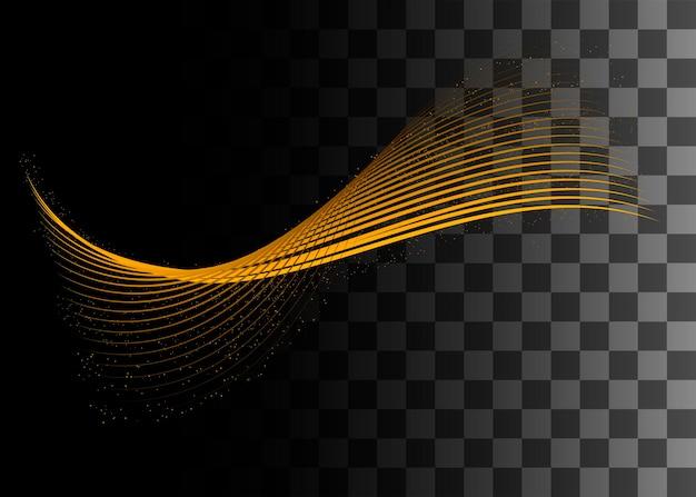 Abstract design element golden color effect vector illustration on transparent background.