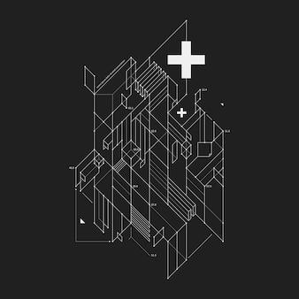 검은 배경에 초안 스타일에서 추상 디자인 요소입니다. 테크노 인쇄물 및 포스터에 유용합니다.