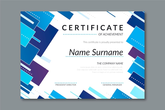 Abstract design geometric certificate template