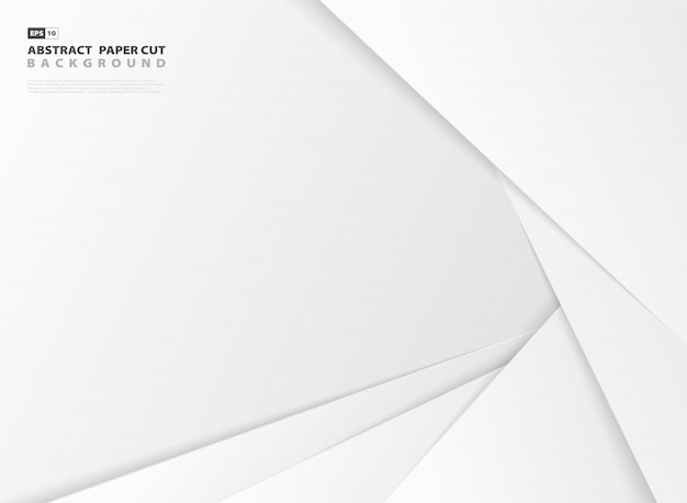Abstract design gradient gray and white color paper cut pattern template background.