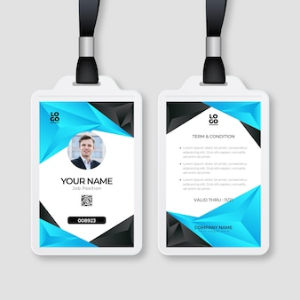 Abstract design id cards template with photo