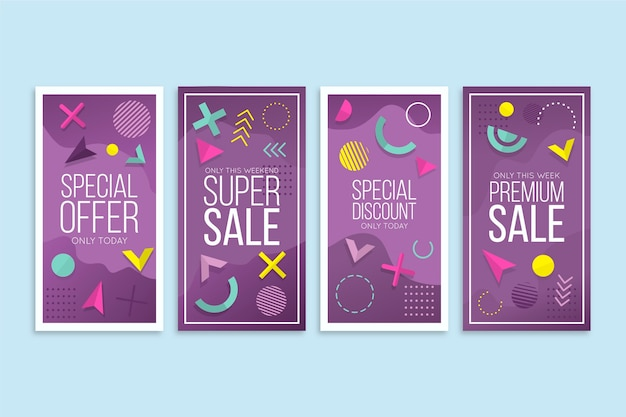 Abstract design instagram sale stories