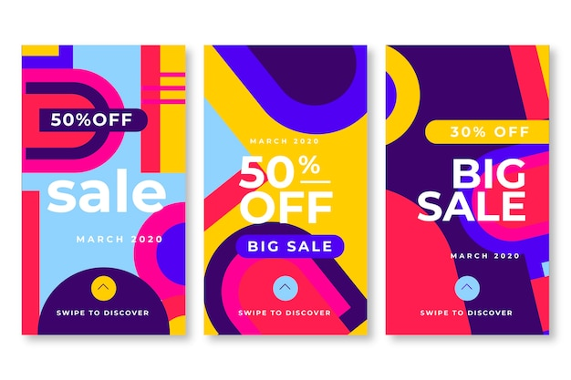 Abstract design instagram sale stories