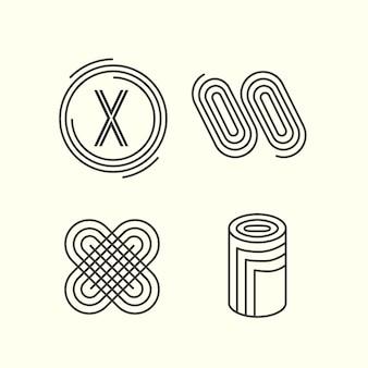 Collezione logo lineare design astratto
