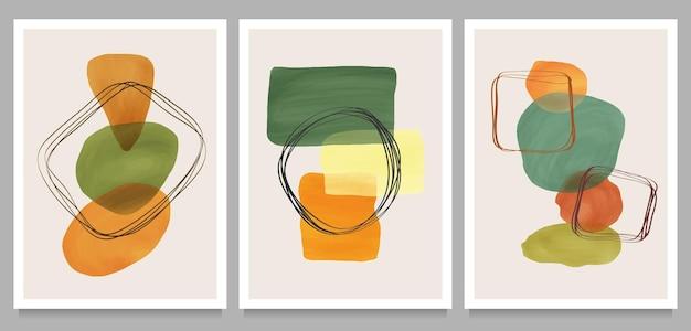 추상적 인 디자인 현대 유행 낙서 및 다양한 모양. 벽 장식, 엽서 또는 브로셔 커버 디자인을위한 창조적 인 미니멀 한 손으로 그린 그림 세트