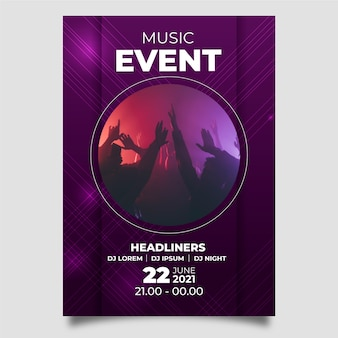 Abstract design music poster with photo