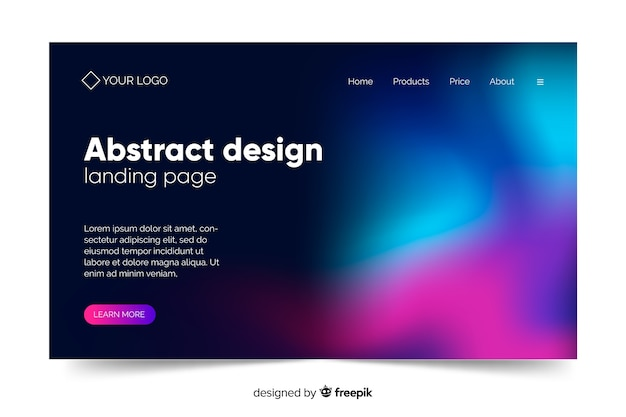 Abstract design of northern lights landing page