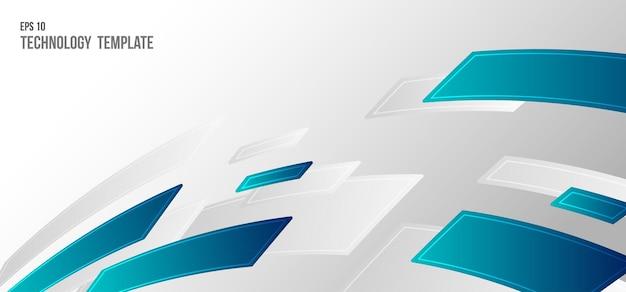 青い波状パターン長方形装飾テンプレートの抽象的なデザイン。動きの背景の未来的なスタイル。イラストベクトル